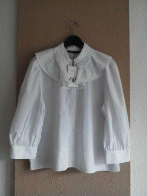 Zara Blouse à volants blanc coton