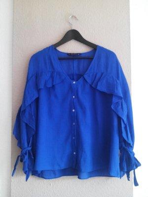 Zara Bluse mit Volantdetail in blau aus Ramie und Baumwolle, Größe S