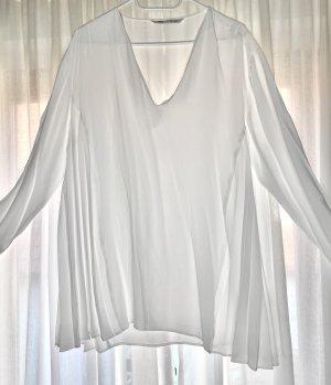 ZARA Bluse Plissee Weiß
