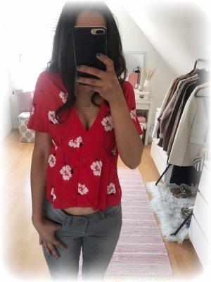 Zara Bluse rot mit weißen Blumen und Knöpfen, Größe S