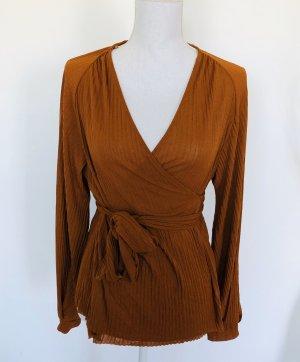 Zara Bluse S 36 Orange Rot Wickelbluse