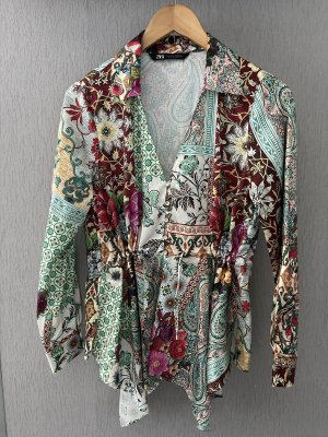Zara Bluse S Patchwork Muster