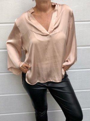 Zara, Bluse, satiniert, nougatfarben, V-Ausschnitt, Gr. XL