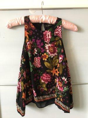 Zara Bluse schwarz mit Blumenprint