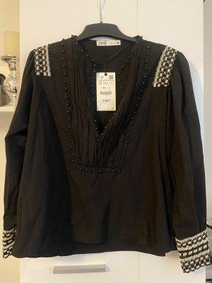 Zara Bluse schwarz S mit Strickerei neu