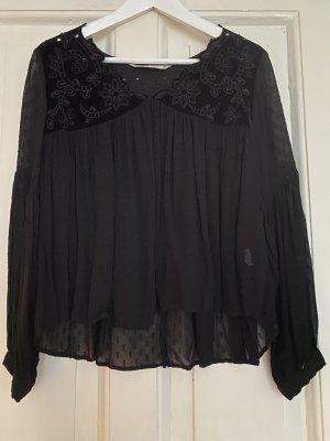 ZARA Bluse Shirt schwarz Spitze transparent Samt - S