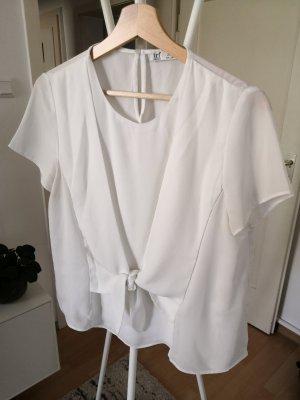 Zara Bluse Shirt Weiß mit Schleife