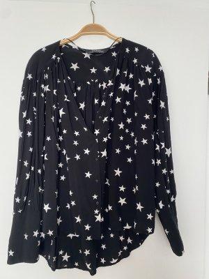 Zara Bluse Sterne oversize schwarz weiß Gr. M