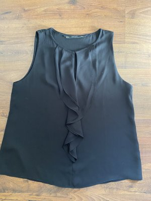 Zara Bluse Top schwarz Volants