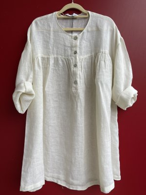 Zara Lniana bluzka w kolorze białej wełny