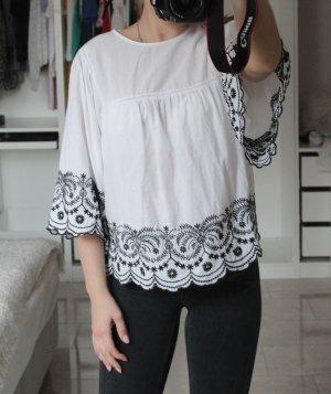 Zara Bluse Weiß mit Stickerei Gr 34/XS