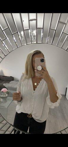 Zara Bluse weiß spitze