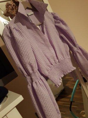Zara Blusa a cuadros blanco-púrpura