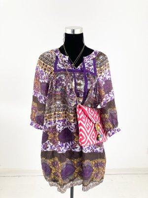 Zara Blusen Kleid Boho Hippie Style bunt S M 38 40 Seide Tunika Sommer Blumen Paisley Muster