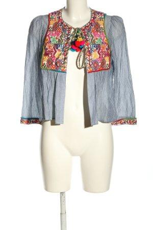 Zara Blusenjacke blau-weiß Streifenmuster Casual-Look