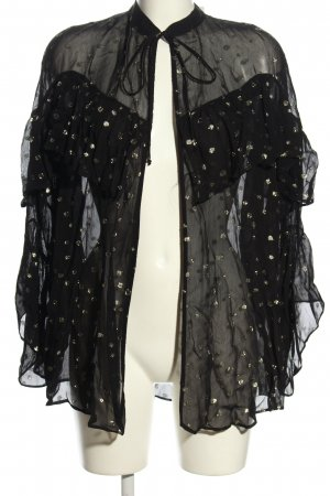 Zara Chaqueta tipo blusa negro-color oro estampado a lunares elegante