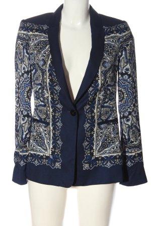 Zara Blusenjacke blau-wollweiß abstraktes Muster Elegant