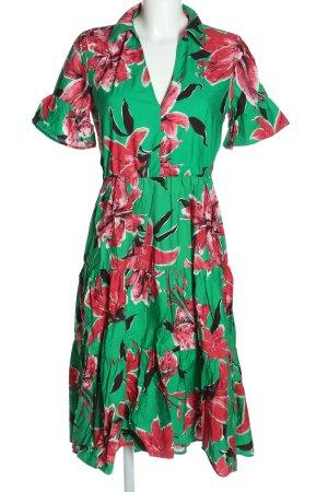 Zara Blusenkleid grün-pink Allover-Druck Casual-Look