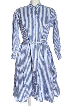Zara Blusenkleid blau-weiß Allover-Druck Casual-Look