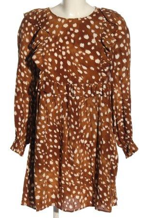Zara Blusenkleid braun-creme abstraktes Muster Casual-Look