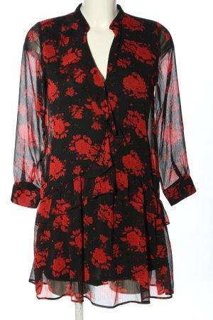 Zara Blusenkleid schwarz-rot Allover-Druck Elegant