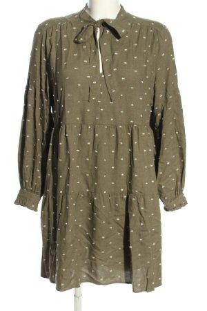 Zara Abito blusa cachi-bianco motivo a pallini stile casual