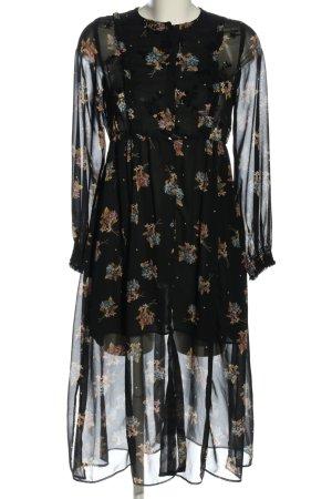 Zara Blusenkleid schwarz-braun Allover-Druck Business-Look