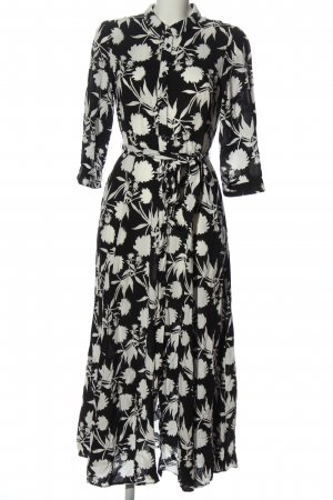 Zara Robe chemisier noir-blanc imprimé allover style décontracté
