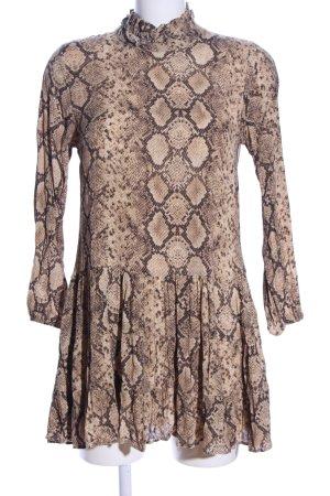 Zara Blusenkleid braun Allover-Druck Casual-Look