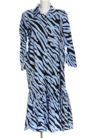 Zara Blusenkleid blau-schwarz abstraktes Muster Casual-Look