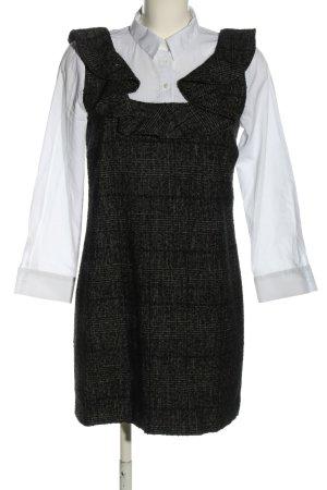 Zara Blusenkleid weiß-schwarz Karomuster Business-Look