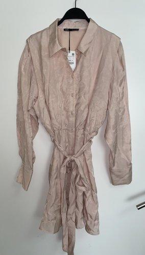 Zara Blusenkleid mit V Ausschnitt Minikleid Satinoptik Hemdblusenkleid L 40