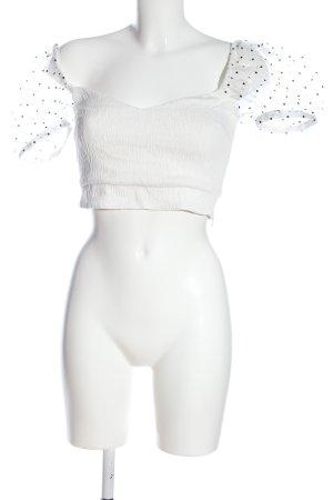 Zara Blusentop weiß-schwarz Punktemuster Elegant