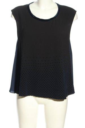 Zara Blusentop schwarz-blau Punktemuster Casual-Look