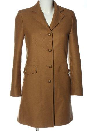 Zara Długi płaszcz brązowy W stylu biznesowym