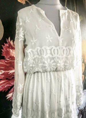 ZARA Boho Blogger Maxi Spitze Traum Sommer Hochzeit Kleid Dress weiss M