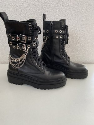 Zara Lace-up Boots black-silver-colored