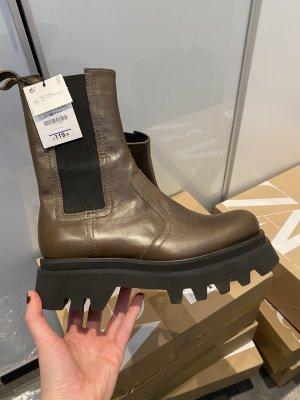 Zara Platform Boots bronze-colored-black