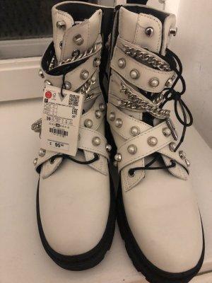 Zara boots biker Stiefel Stiefeletten zippy chain Ketten echtes Leder 38