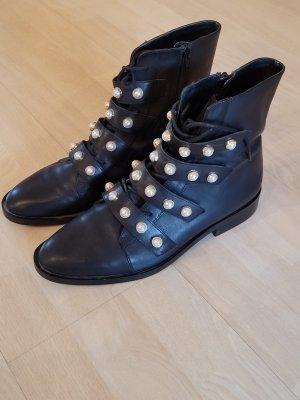 Zara Boots Perlen Leder schwarz 41