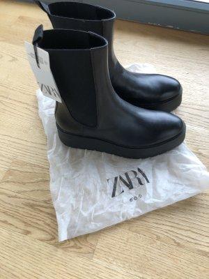 Zara Boots schwarz Leder