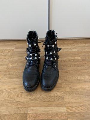 ZARA Boots Schwarz mit Perlen