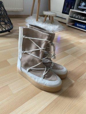 Zara Bottes d'hiver blanc cassé-gris brun