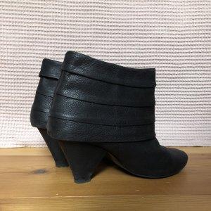 ZARA Boots Stiefeletten Schwarz Gr. 37 Blockabsatz Isabel-Marant-Style