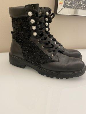 Zara Boots Tweed mit Perlen schwarz 40
