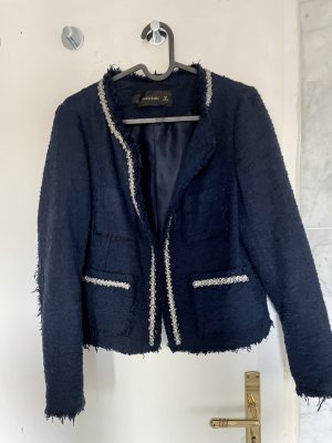 Zara Basic Tweed Blazer dark blue-silver-colored