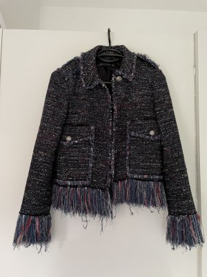 Zara Blazer Tweed violeta azulado-azul oscuro