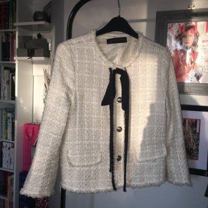 Zara Bouclé Jacke Schleife Audrey neuwertig begehrt Blogger Gr. S Tweed Blazer