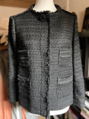 Zara Boucle Jacke schwarz Gr. M 38