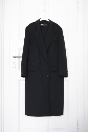 Zara Manteau oversized bleu foncé laine
